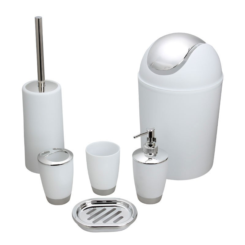 6 piece bathroom accessory set white dk st015 for Bathroom accessories set canada