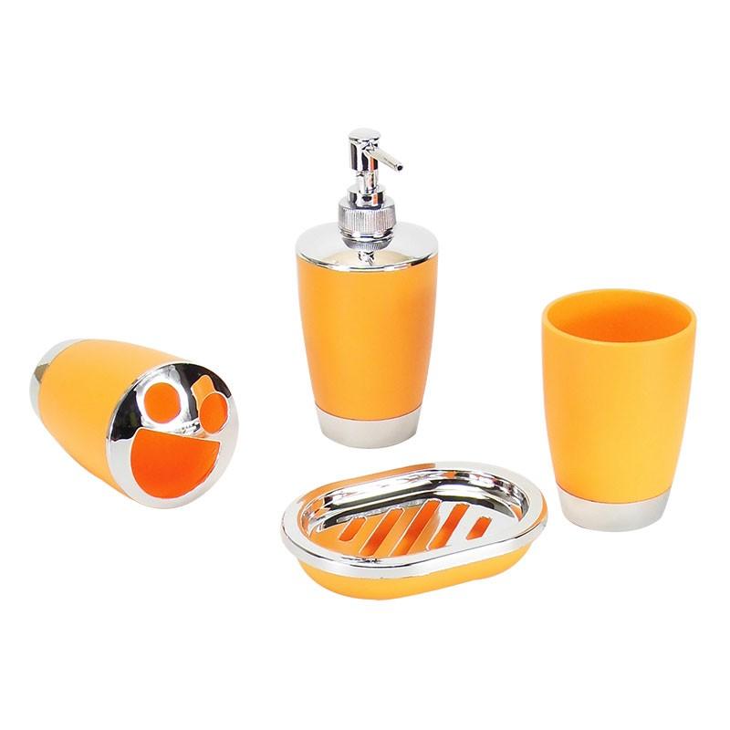 Orange bathroom accessories set orange bathroom for Orange toilet accessories