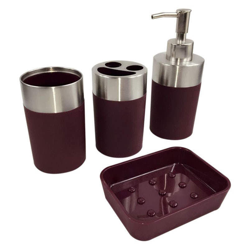 4 piece bathroom accessory set dark red dk st022 for Red bathroom accessories