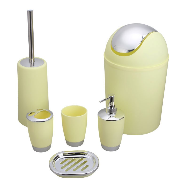 6 piece bathroom accessory set yellow dk st016 for Yellow bathroom accessories sets