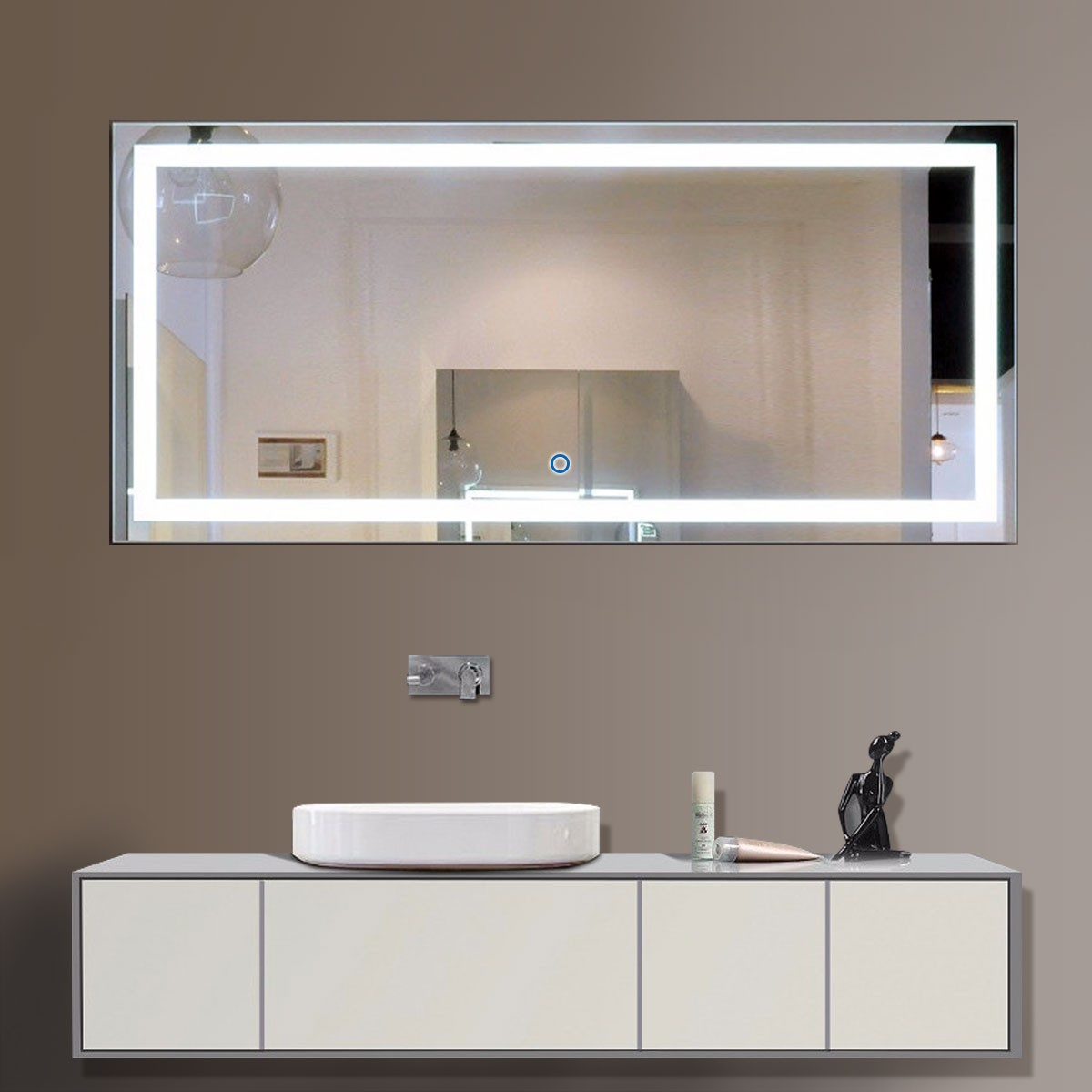 60 X 28 In Horizontal Led Bathroom Silvered Mirror With Touch Button Dk Od Ck010 C