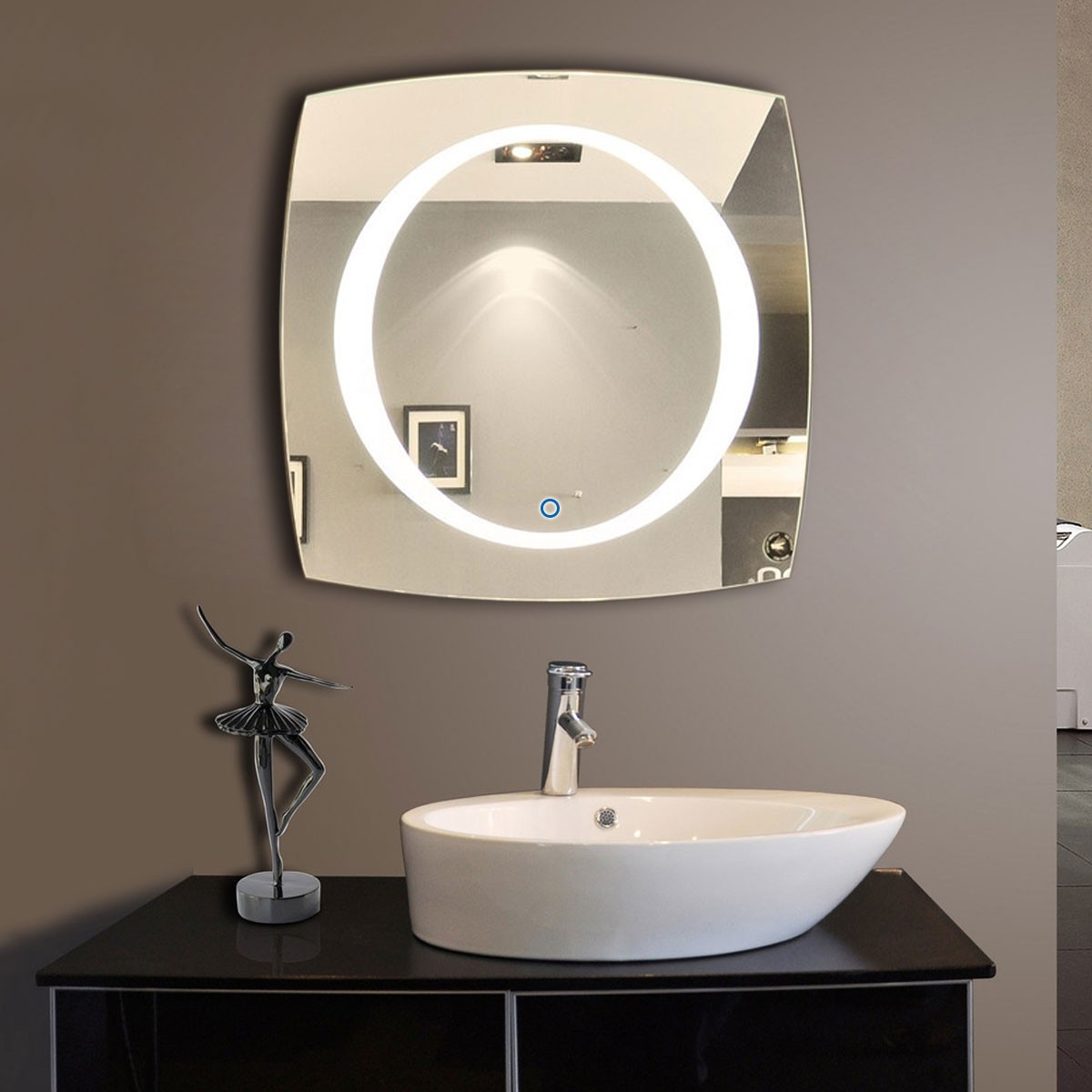 40 x 40 in horizontal and vertical led bathroom silvered mirror with touch button dk od n006. Black Bedroom Furniture Sets. Home Design Ideas