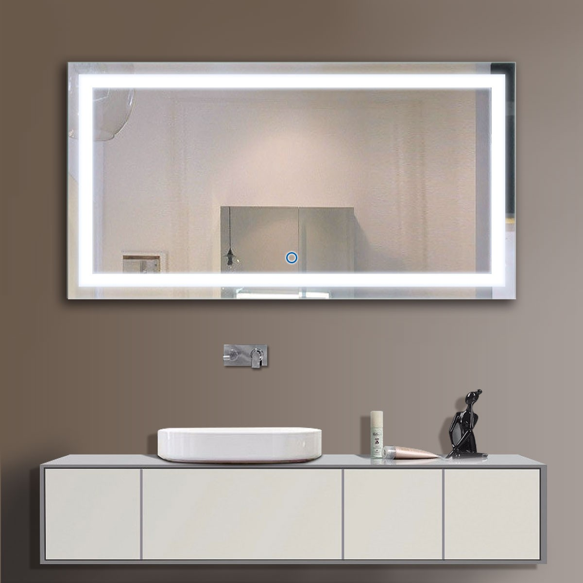 48 X 24 In Horizontal Led Bathroom Silvered Mirror With