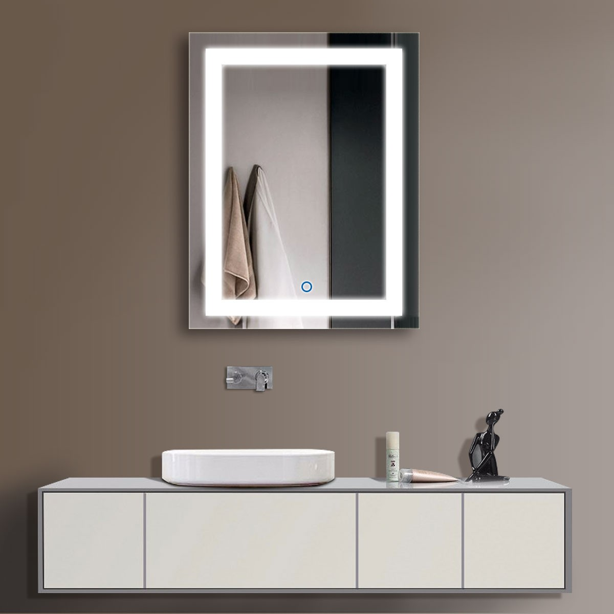 24 x 32 In Vertical LED Bathroom Mirror with Touch Button (DK-OD-CK168)