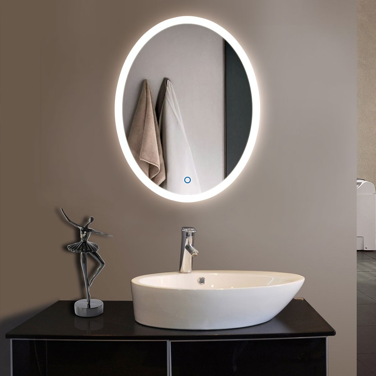 24 X 32 In Vertical Oval Led Bathroom Silvered Mirror With Touch Button Dk Od Cl054