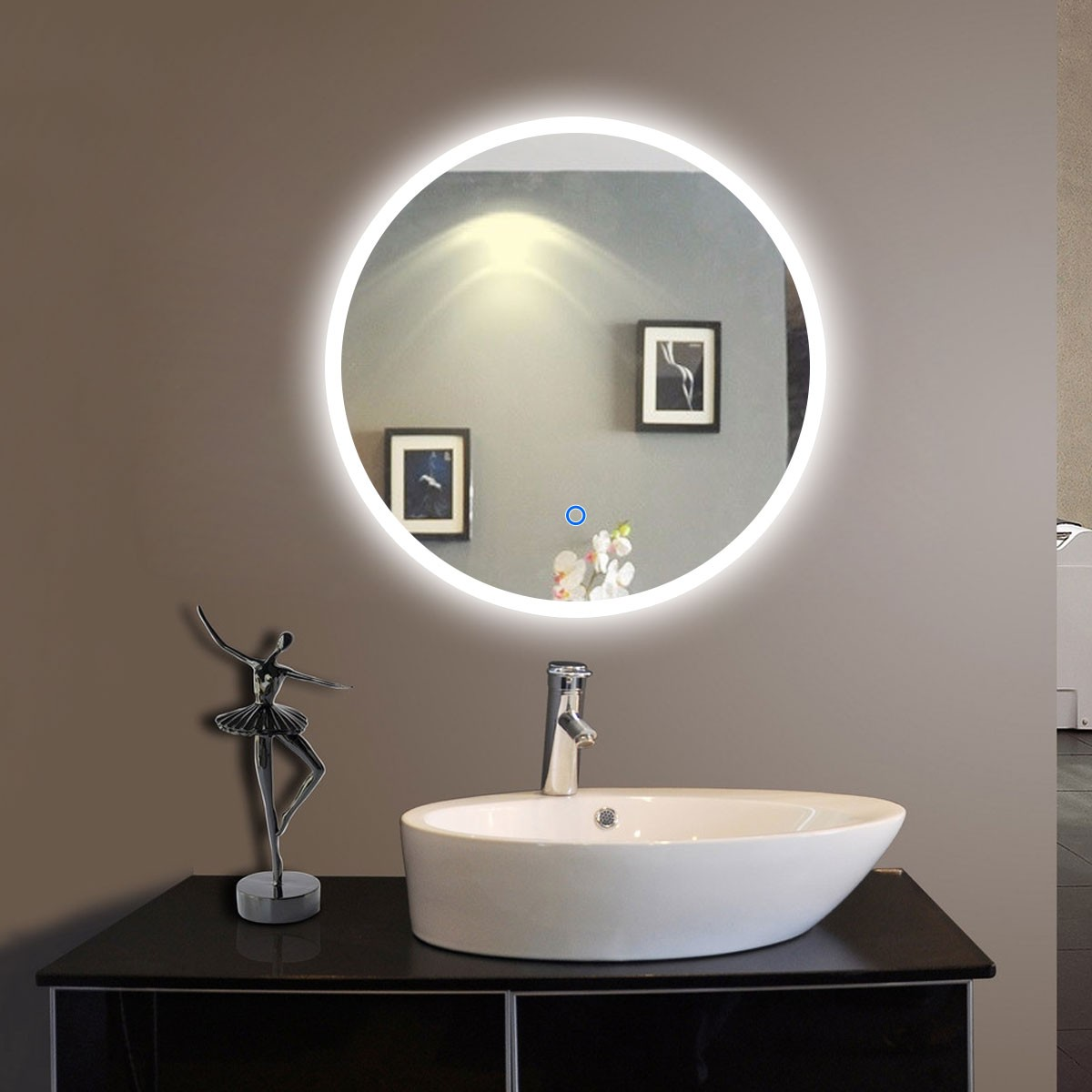 24 X 24 In Round Led Bathroom Silvered Mirror With Touch