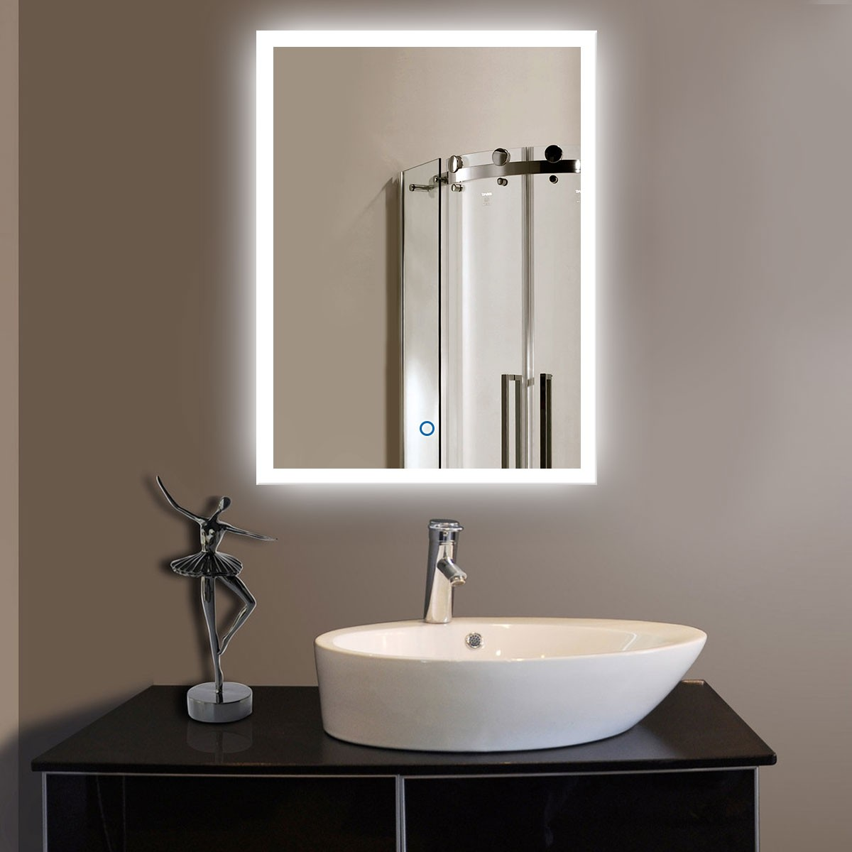 24 x 32 In Vertical LED Bathroom Silvered Mirror with Touch Button (DK-OD-N031)