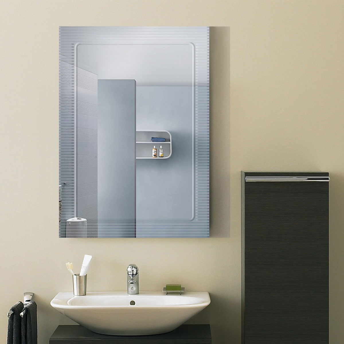 28 X 20 In Wall Mounted Rectangle Bathroom Mirror DK OD