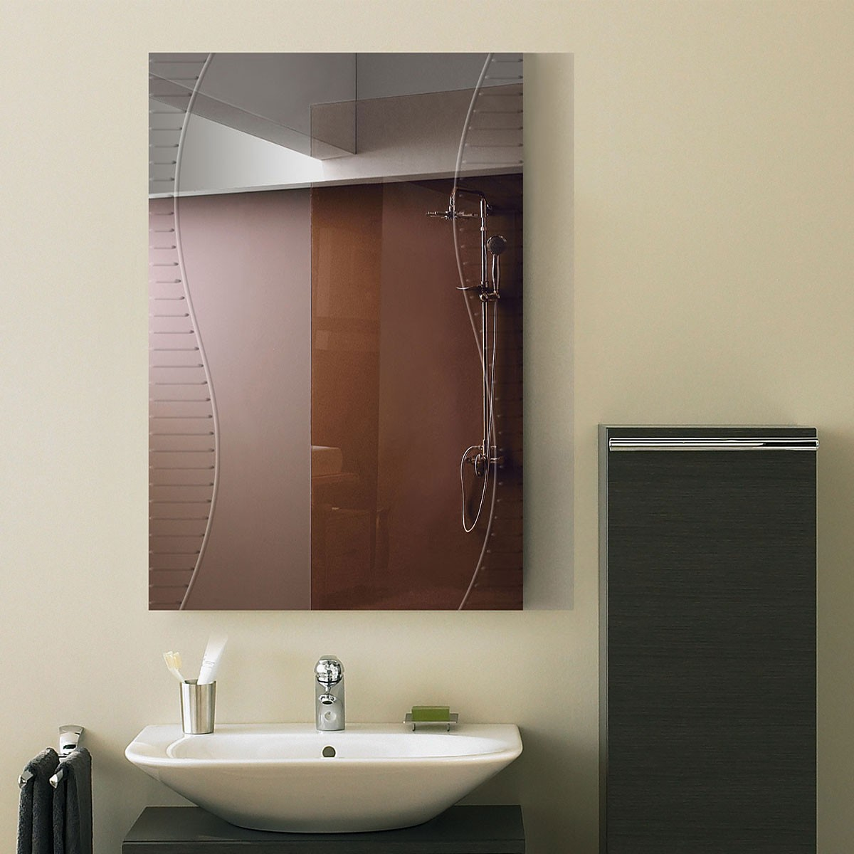24 x 36 In. Wall-mounted Rectangle Bathroom Mirror (DK-OD-B068A)