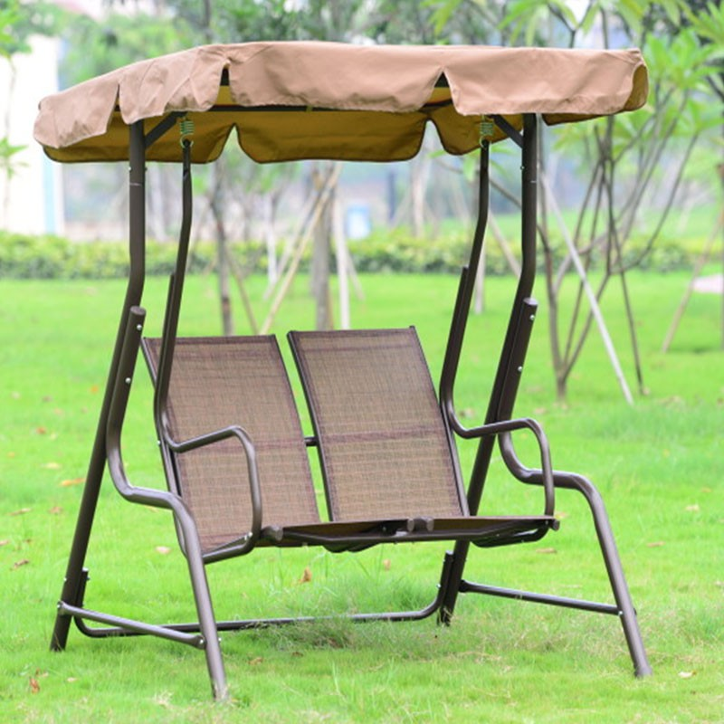 Double Seat Patio Swing With Iron Frame Yz 016 Decoraport Canada