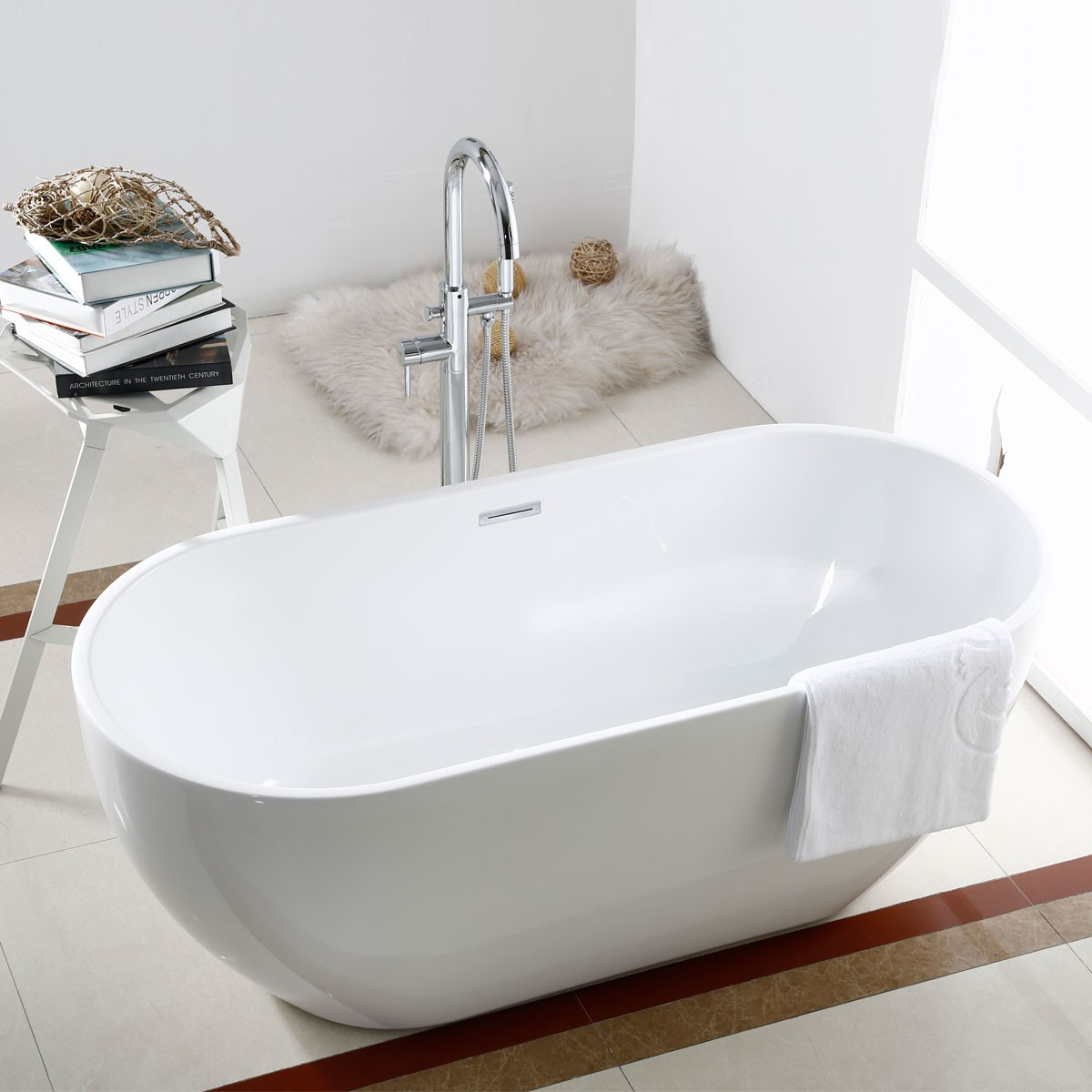 60 In Seamless Freestanding Bathtub -  Acrylic Pure White (DK-PW-11572)