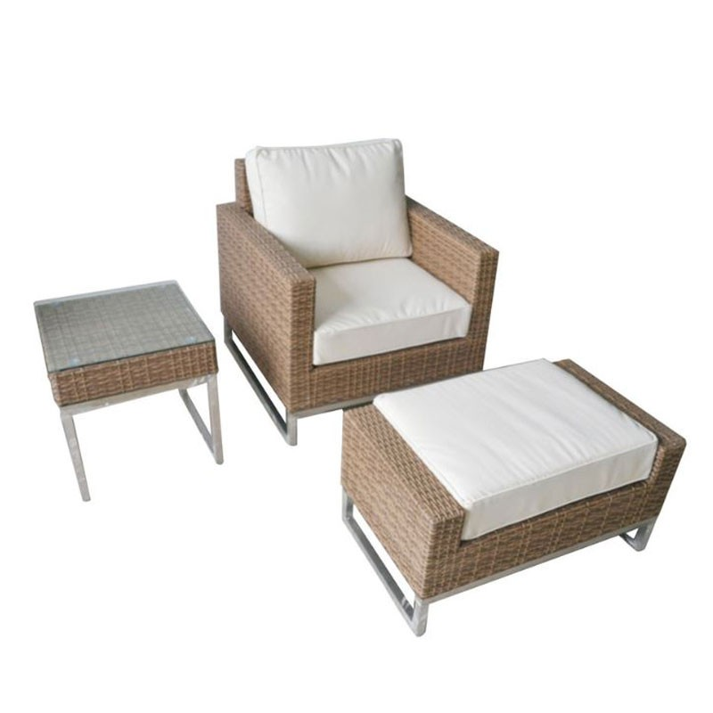 3-Piece PE Rattan Sofa Set: Coffee Table, Sofa, Ottoman (LLS-5001)