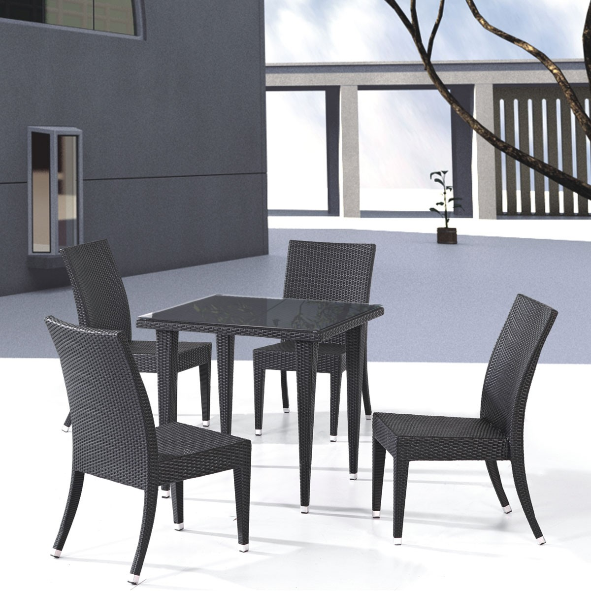 PE Rattan 5 Pieces Dining Set: Dining Table, 4 Armless Chairs(LLS-6056+1056)