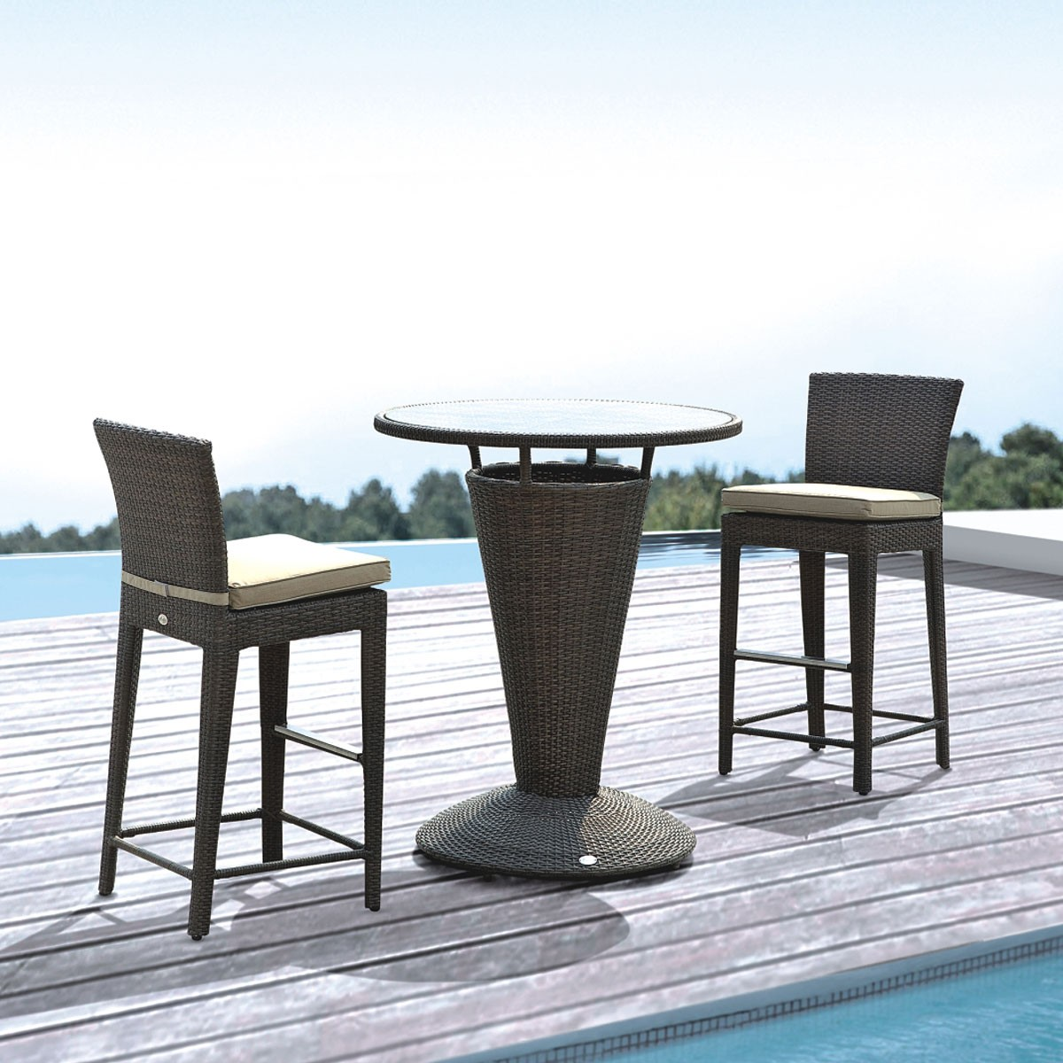 PE Rattan 3 Pieces Dining Set: Dining Table, 2 Armless Chairs(LLS-6150+1150)