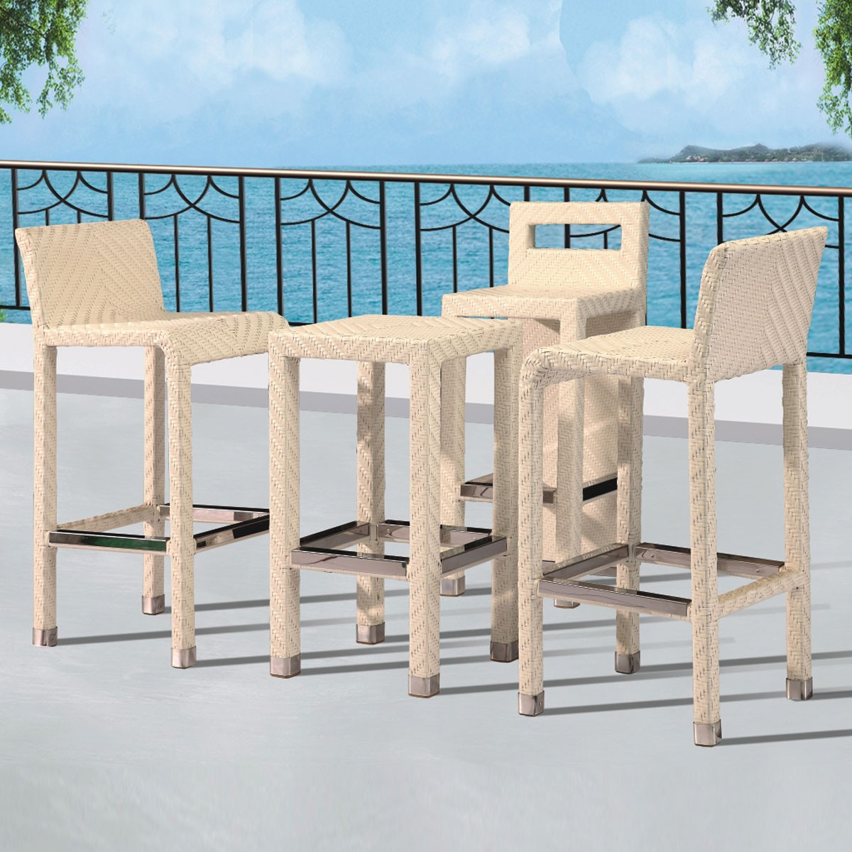 PE Rattan 4 Pieces Dining Set: Dining Table, 3 Chairs (LLS-6151+1151)