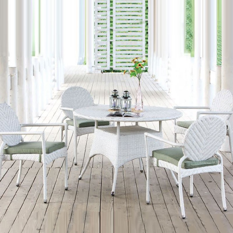 PE Rattan 5 Pieces Dining Set: Dining Table, 4 Chairs (LLS-DE-01)