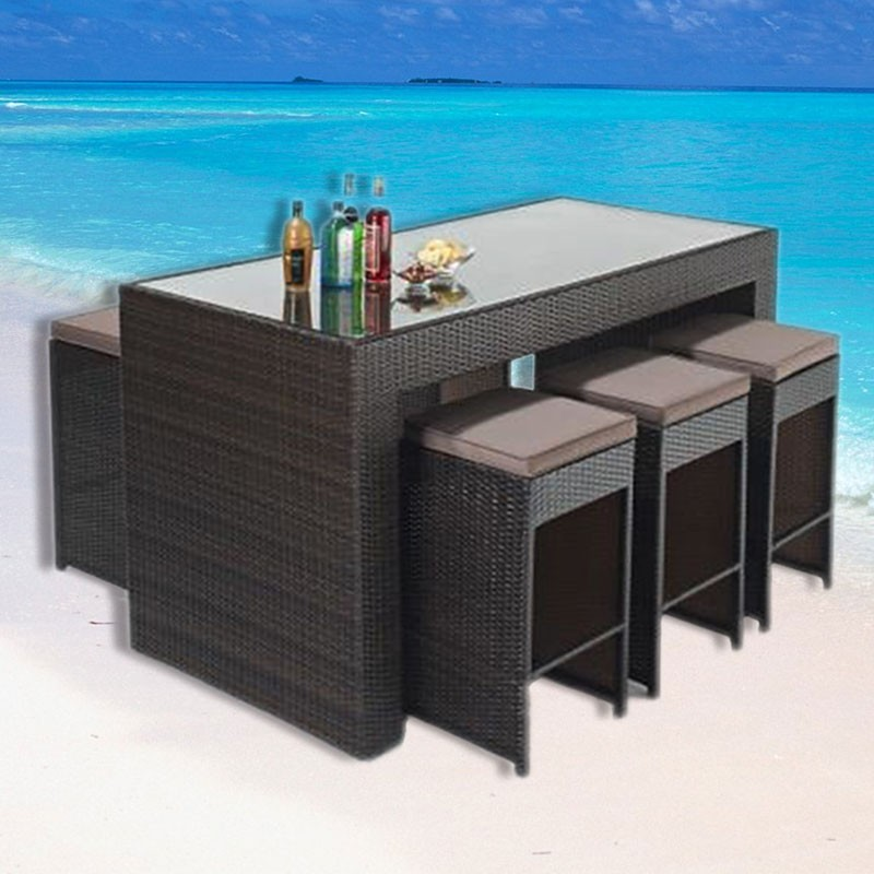 PE Rattan 7 Pieces Dining Set: Dining Table, 6 Chairs.(LLS-6051+1051)