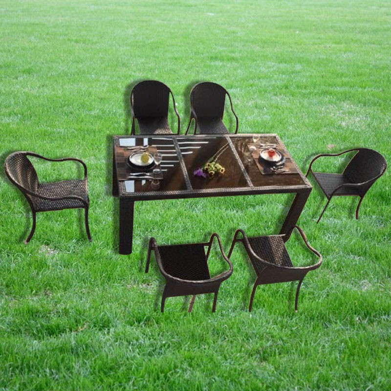 PE Rattan 7 Pieces Dining Set: Dining Table, 6 Chairs (LLS-6059+1059)