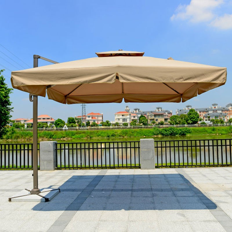 9.8-ft  Deluxe Polyester  Offset Patio Umbrella(Square Single Roof)(921AL-3)