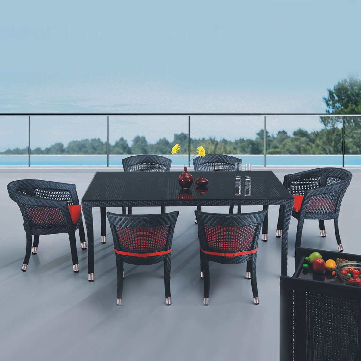PE Rattan 7 Pieces Dining Set: Dining Table,2 Chairs,4 Armless Chairs (LLS-6010+1010)