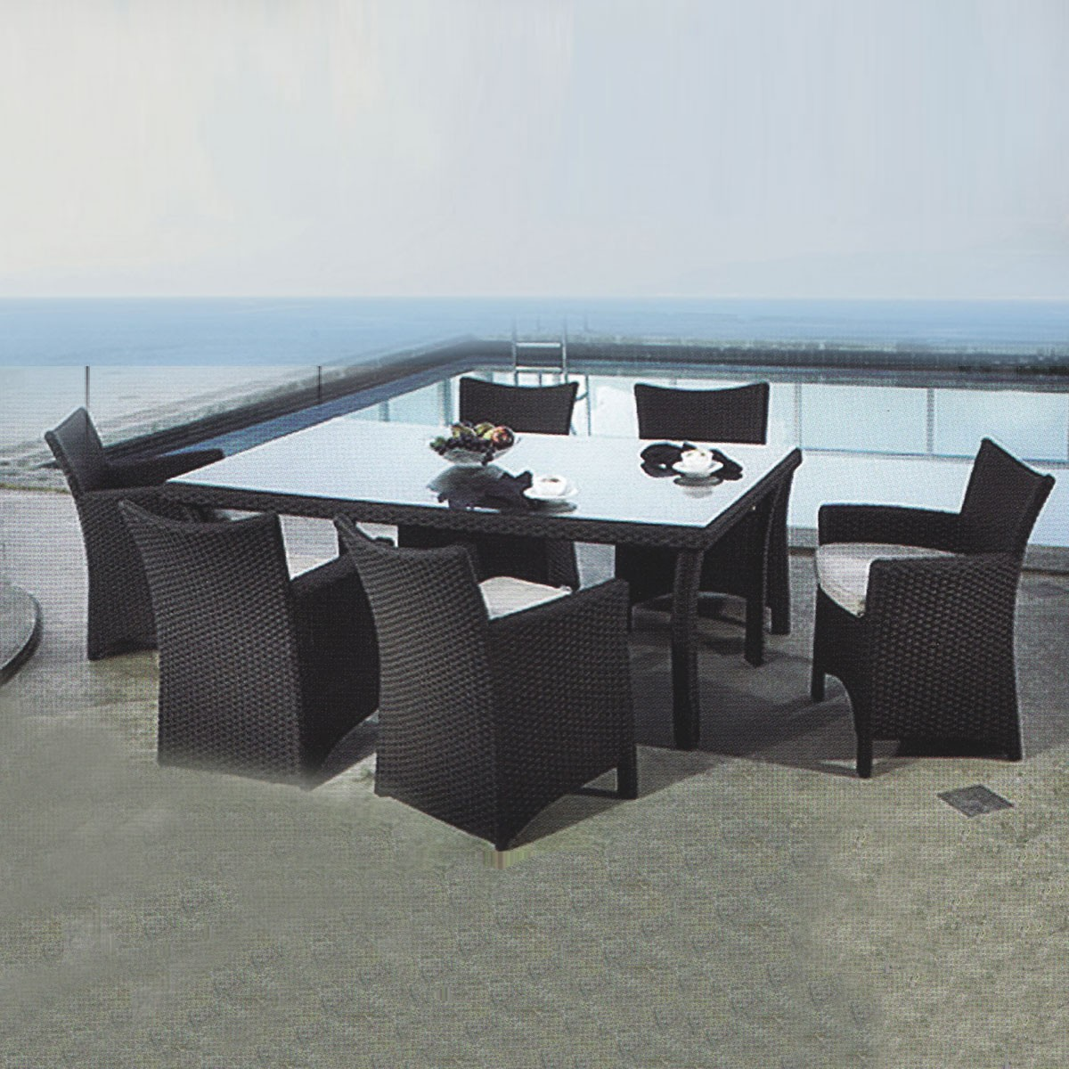 PE Rattan 7 Pieces Dining Set: Dining Table, 6 Chairs (LLS-6052+1052)