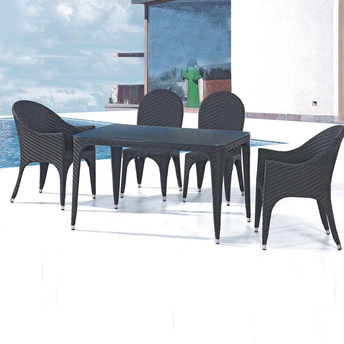PE Rattan 5 Pieces Dining Set: Dining Table, 2 Chairs, 2 Armless Chairs (LLS-6111+1111)