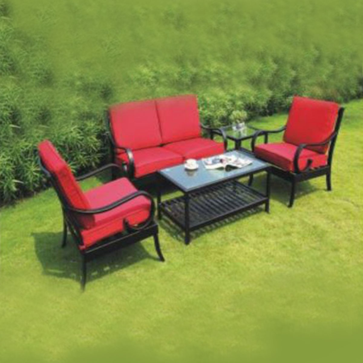 5 Pieces Dinning Set: Coffee Table, 2 Chairs, Loveseat, End Table (LLS-CA032)