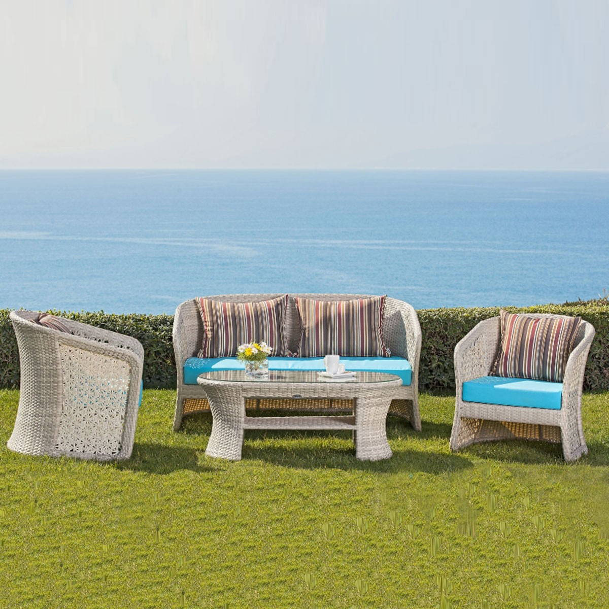 4-Piece PE Rattan Sofa Set: Loveseat, 2 Lounge Chairs, Coffee Table (LLS-FSAL01)