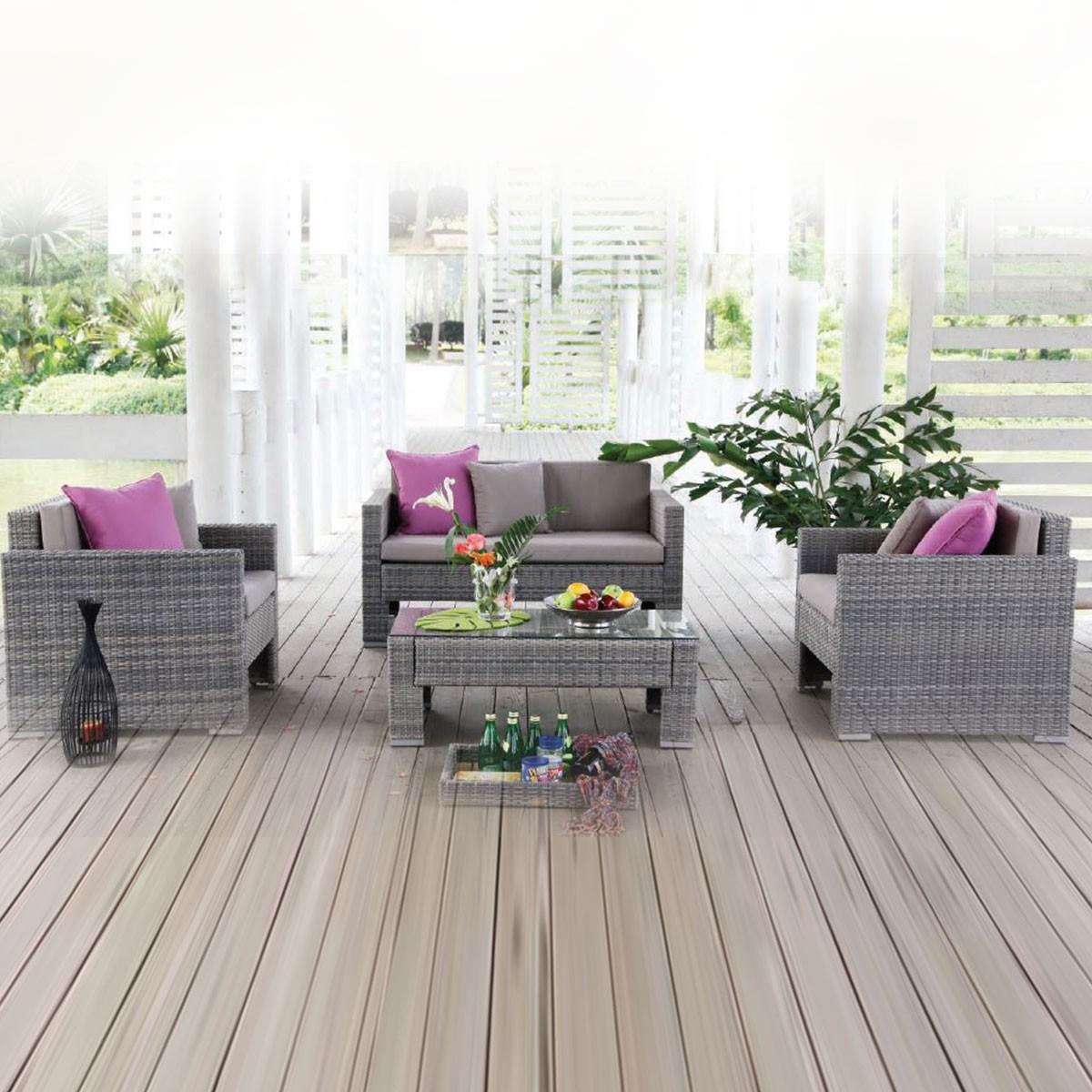 4-Piece PE Rattan Sofa Set: Loveseat, 2 Lounge Chairs, Coffee Table (LLS-P36)