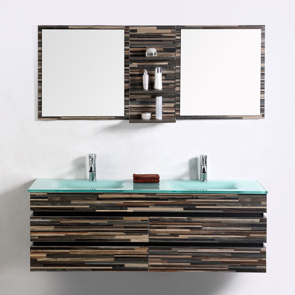 55 In. Wall Mount Bathroom Vanity Set With Double Glass Sink And Mirror (VS