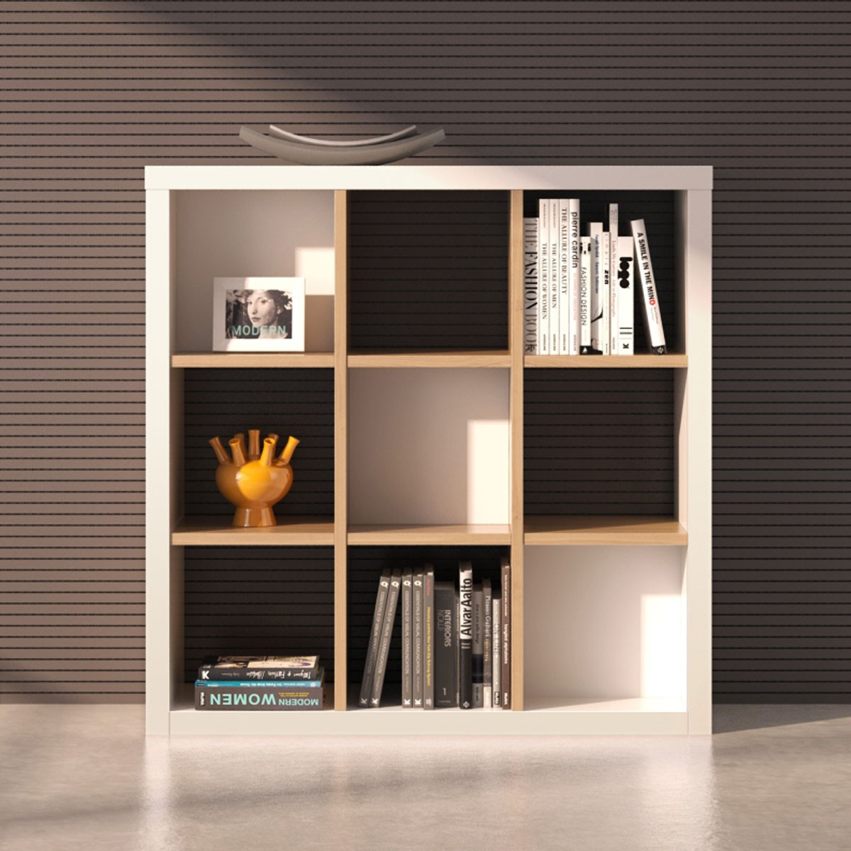 """Shelving Unit 47.2""""H x 47.2""""W x 15.7""""D in Oak and White (CG51)"""
