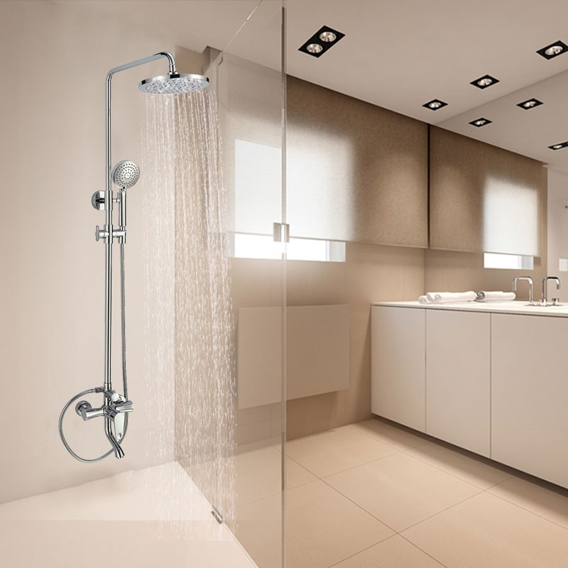 Bathroom Single Handle Tub and Shower Faucet with Hand Shower - Brass with Chrome Finish (86H44-CHR)