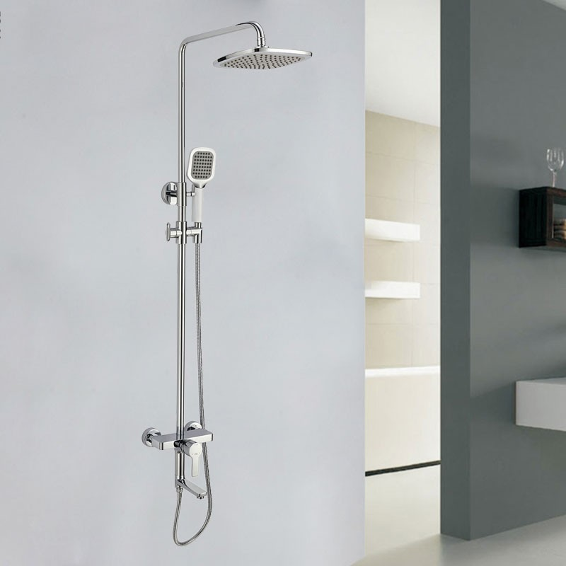 Bathroom Single Handle Tub And Shower Faucet With Hand Shower   Brass With  Chrome Finish (