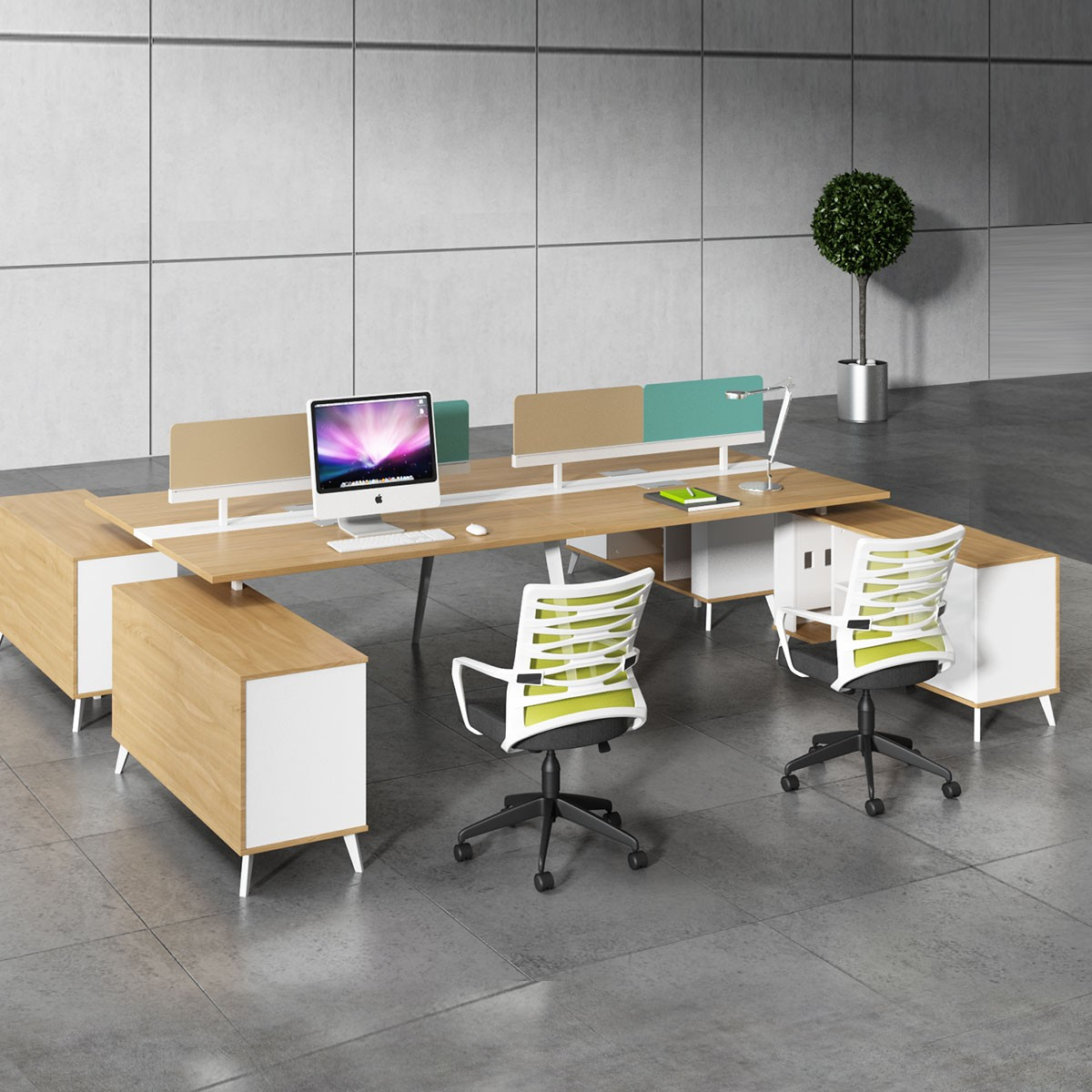 Office Workstation in Oak and White for 4 persons with divider and cabinet (WM34)
