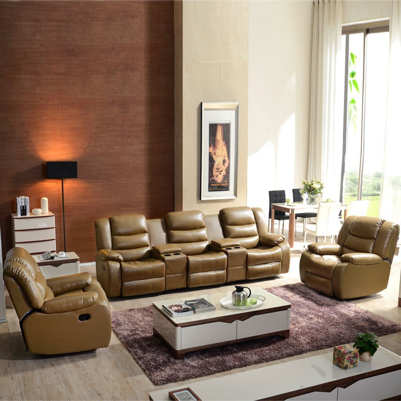 Light Brown Manual Reclining Sofa Set with 3 Seats in Leather ( LH-189-3)