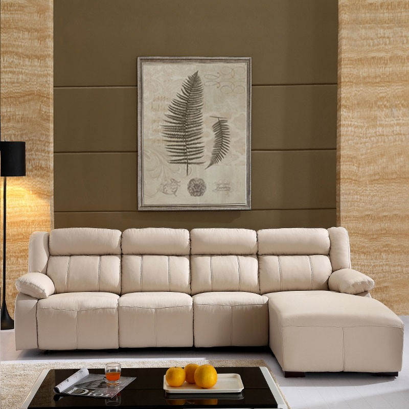White Recliner Sectional Sofa in Leather with Left-facing Chaise (LH-EA905-2)
