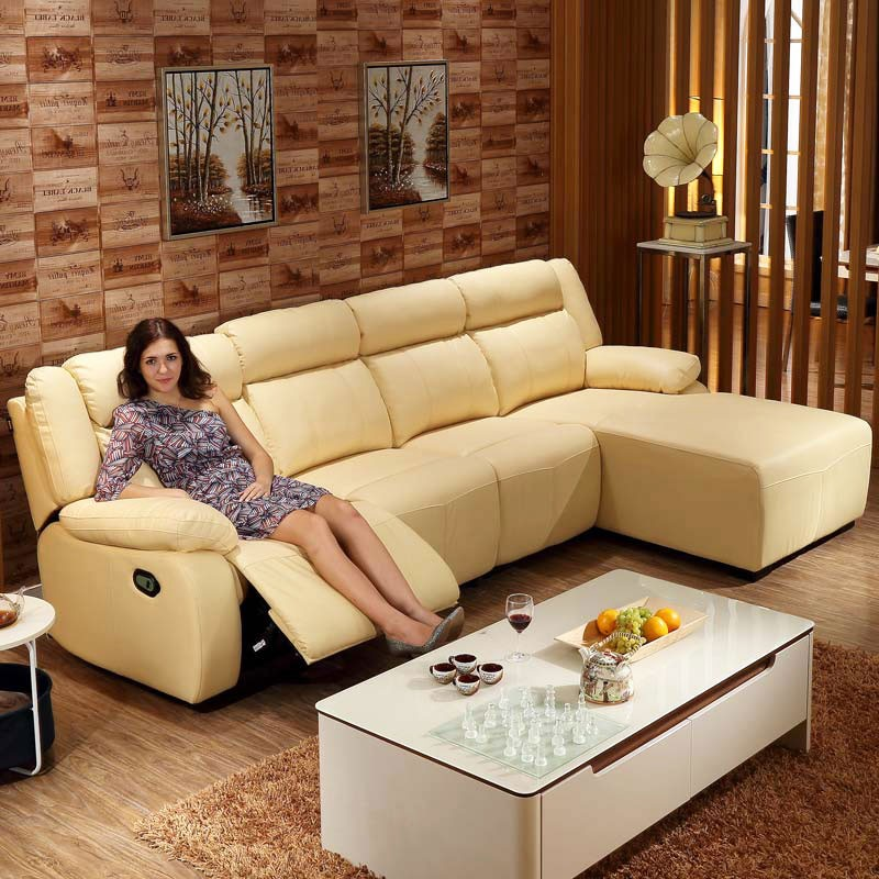Yellow Leather Sectional Sofa: Yellow Recliner Sectional Sofa In Leather With Right