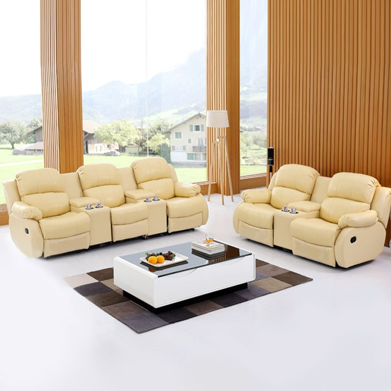 Beige Manual Reclining Sofa Set in Genuine Leather with 3 Seats (LH-EA39-3)