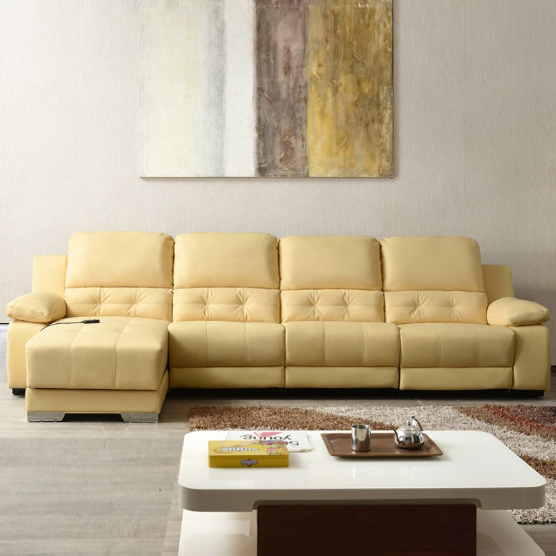 Beige power driven recliner sectional sofa in genuine for Beige sectional with chaise