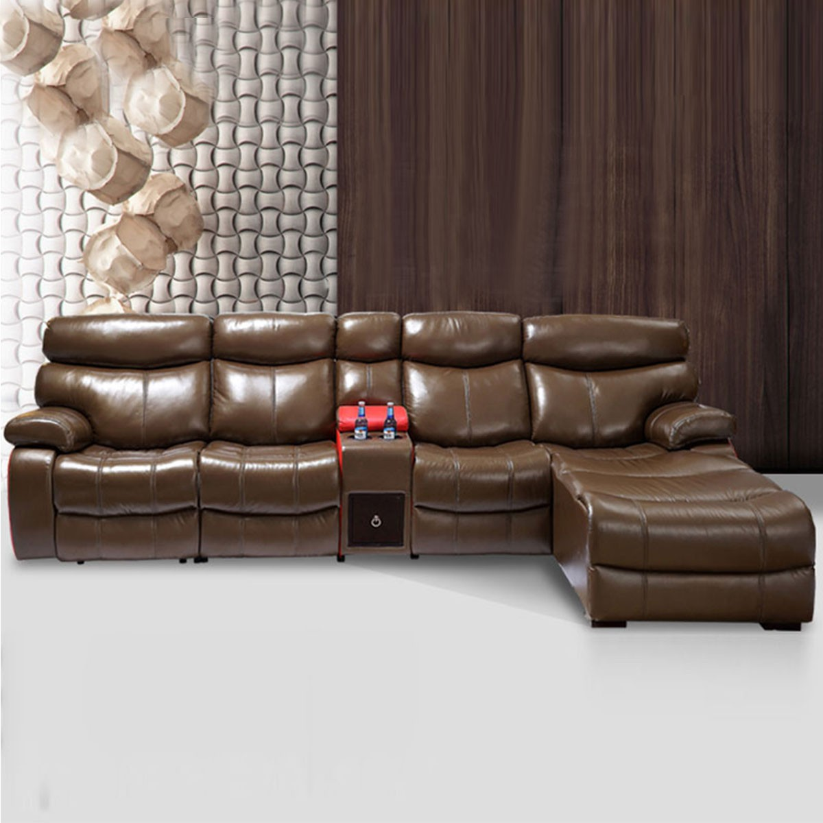 Dark Brown Multi-functional Recliner Sectional Sofa in Top Grain Leather with Cup Holder Console and Left-facing Chaise (LH-6045-2)