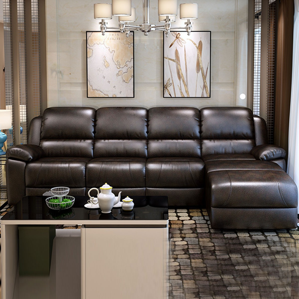 Chocolate Manual Recliner Sectional Sofa in Faux Leather with Right-facing Chaise (LH-1806-1)