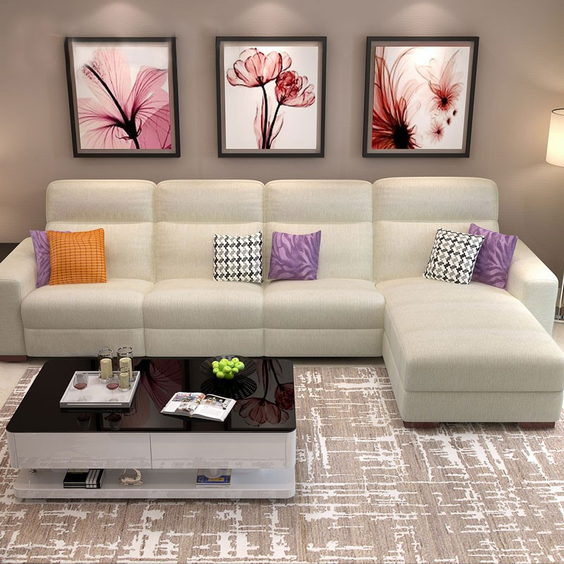 White Manual Recliner Sectional Sofa In Cotton Linen