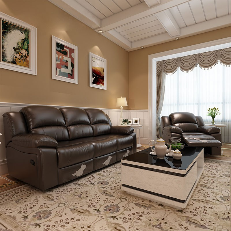 Chocolate Reclining Sofa Set with 3 Seats in Faux Leather (LH-806-2)