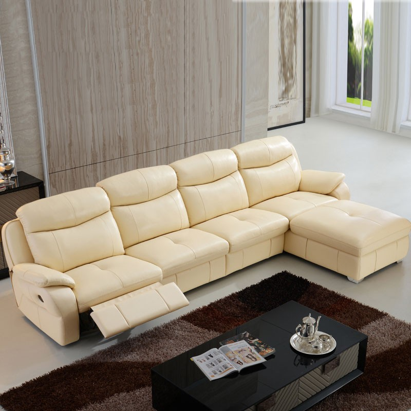 Beige Manual Recliner Sectional Sofa In Leather With Right