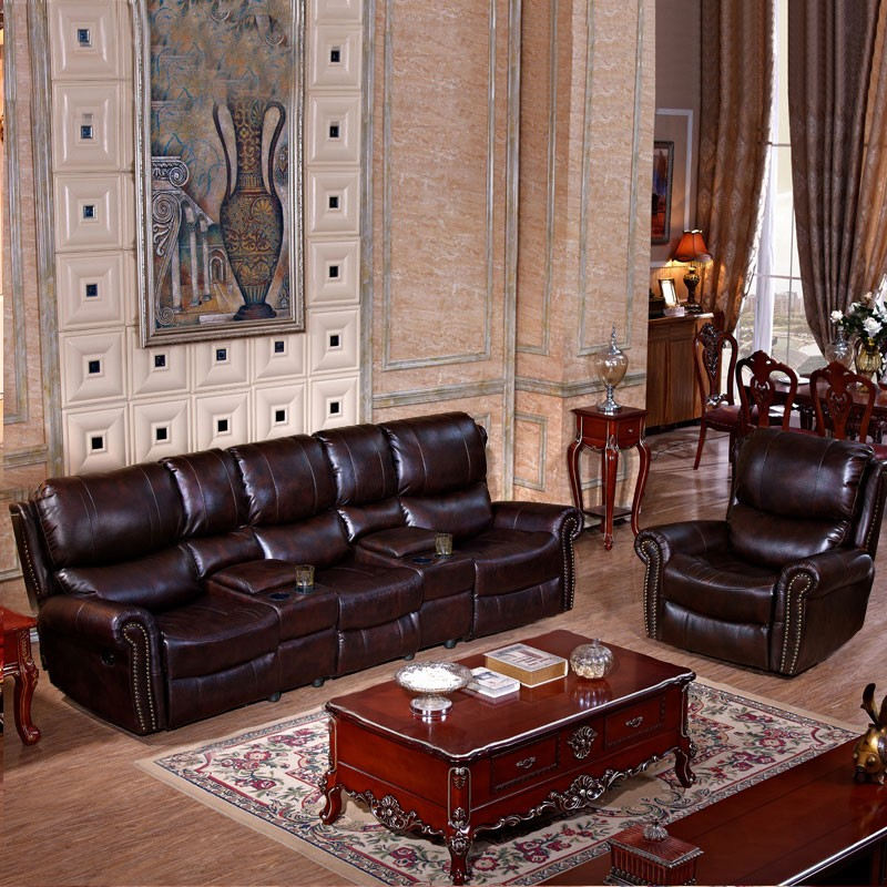 Dark Brown Manual Reclining Sofa Set with 3 Seats in Faux Leather without Cup Holder Console (LH-927-4)