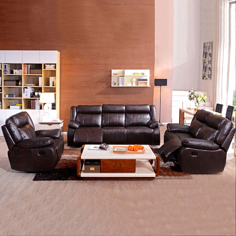 3 Piece Dark Brown Manual Reclining Sofa Set With 6 Seats In Faux