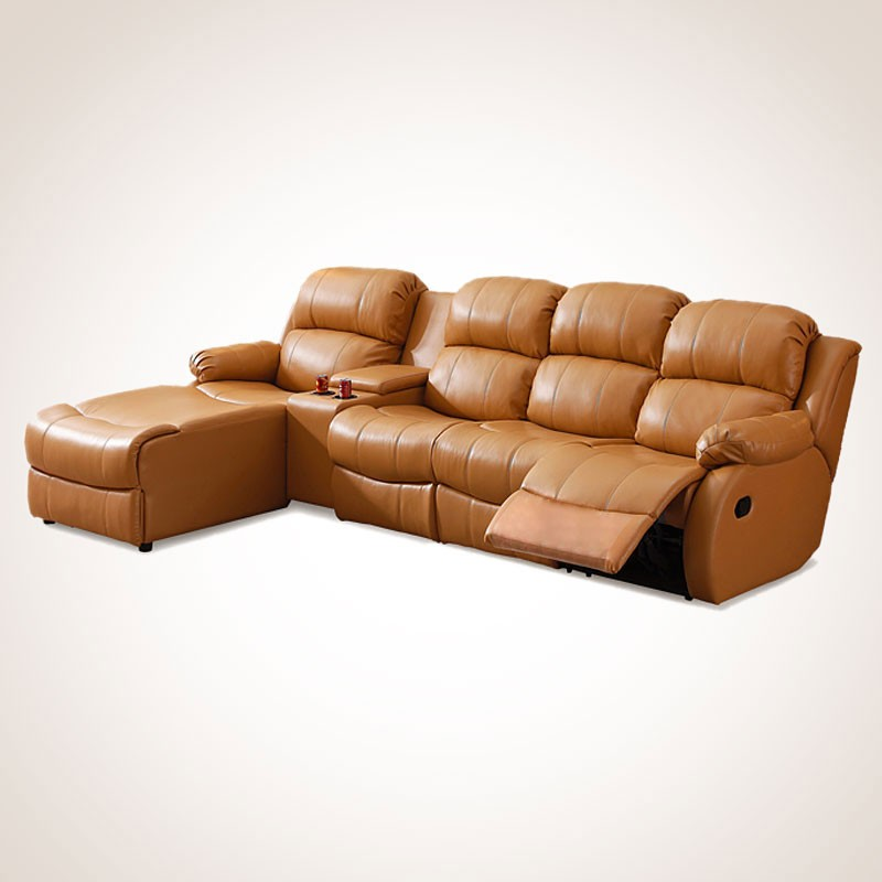 Dark Beige Manual Recliner Sectional Sofa in Genuine Leather with Cup Holder Console and Left-facing Chaise (L33-2)