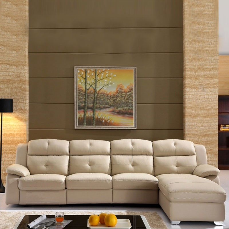 Beige Recliner Sectional Sofa In Leather With Storage And