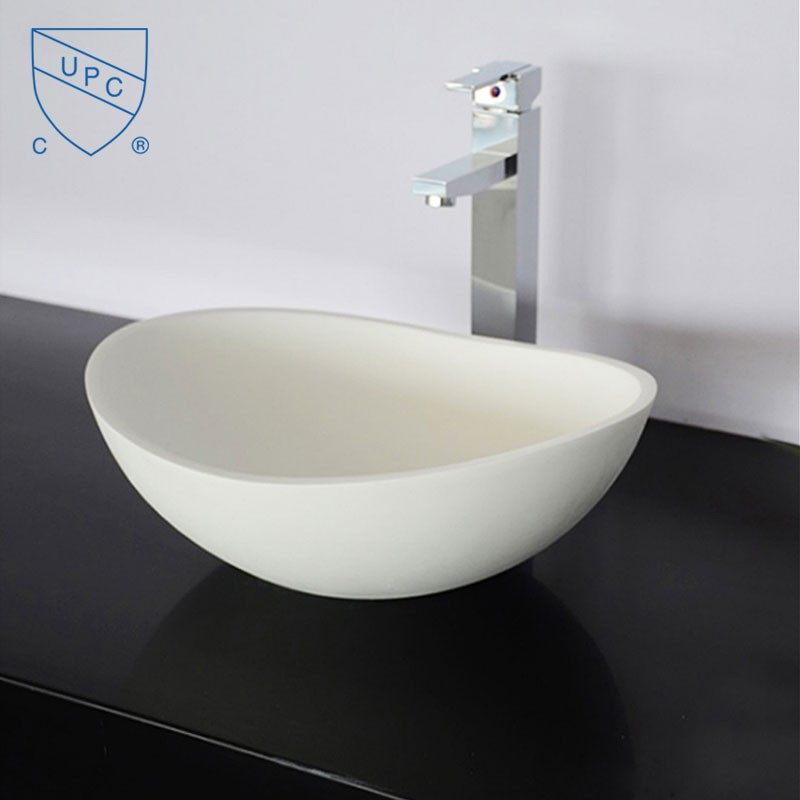White Oval Artificial Stone Above Counter Bathroom Vessel Sink (DK-HB9041)