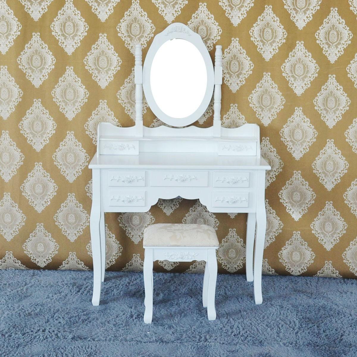 Bedroom makeup vanity set with mirror and stool ji3185 for Bedroom vanity canada